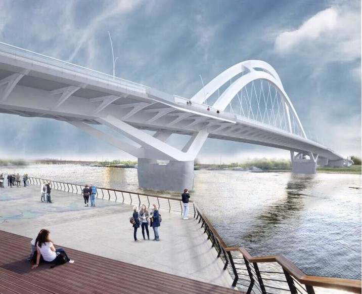 Render of the new Sava Bridge.